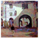 Afternoon Stroll in the Ampitheatre Lucca by chick mcgeehan, Painting, Oil and Acrylic on Canvas