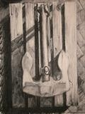 Anchor and Palette by chick mcgeehan, Drawing, Charcoal on Paper