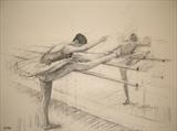 Ballet Pracitise by chick mcgeehan, Drawing, Charcoal on Paper