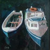 Blue Boats, small version. by chick mcgeehan, Painting, Oil on canvas