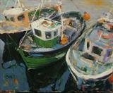 Fishing Boats Ullapool by chick mcgeehan, Painting, Oil and Acrylic on Canvas