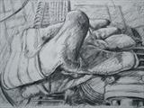 Glove and Generator (Lunch Break) by chick mcgeehan, Drawing, Charcoal on Paper