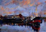 Harbour Nocturne by chick mcgeehan, Painting, Acrylic on board