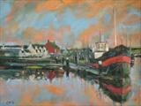 Harbour Nocturne in Oils by chick mcgeehan, Painting, Oil on canvas