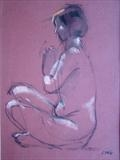 Meditation with Sam by chick mcgeehan, Drawing, Pastel on Paper