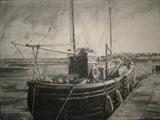Mist Isle tied up at Irvine harbour by chick mcgeehan, Drawing, Charcoal on Paper