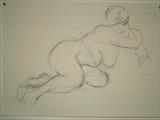 Nude Study by chick mcgeehan, Drawing, Charcoal on Paper