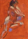 Nude on Chair 2 by chick mcgeehan, Painting, Oil on Board
