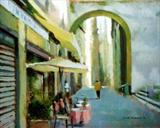 October Stroll Lucca by chick mcgeehan, Painting, Acrylic on canvas