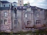 Open Windae Sandbed Street Kilmarnock by chick mcgeehan, Painting, Oil on canvas