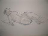 Reclining Nude by chick mcgeehan, Drawing, Charcoal on Paper
