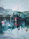 Reflections, Irvine Harbour by chick mcgeehan, Painting, Acrylic on board
