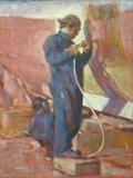 Repairing the Hull by chick mcgeehan, Painting, Oil on canvas