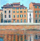 Riverside Pisa by chick mcgeehan, Painting, Acrylic on canvas