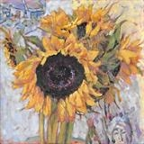 Sunflowers in the Studio by chick mcgeehan, Painting, Oil on Board