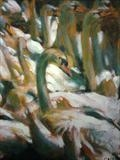 Swans 2 by chick mcgeehan, Painting, Oil on canvas
