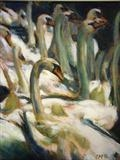 Swans 3 by chick mcgeehan, Painting, Oil on canvas