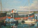 "The puffer ""Spartan"" and ""Kyles"" at Irvine Harbour by chick mcgeehan, Painting, Oil on canvas"