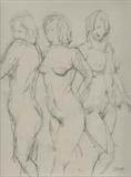 Three Graces by chick mcgeehan, Drawing, Charcoal on Paper