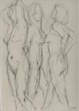 Three Graces 2 by chick mcgeehan, Drawing, Charcoal on Paper