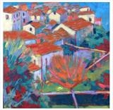 Tuscan Hill Town by chick mcgeehan, Painting, Oil and Acrylic on Canvas