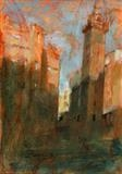 Winter Light Merchant City by chick mcgeehan, Painting, Oil on Board