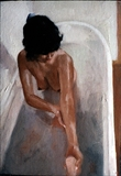 Woman in a Bath Tub by chick mcgeehan, Painting, Oil on Board